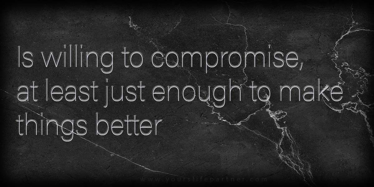 Is willing to compromise, at least just enough to make things better